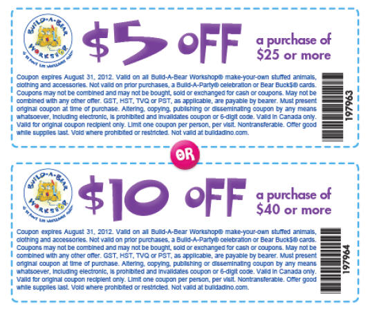 Build A Bear Coupons August