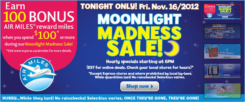 Toys R Us Moonlight Madness Sale Nov 16 Only Edmonton
